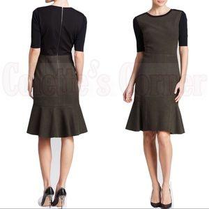 Elie Tahari Linore Colorblock Flounce Dress